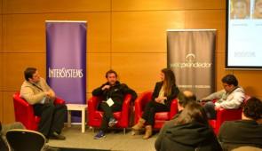 Francisco MasJuan, Nico Orellana, Mariana Larraín y Luis Ahumada en el panel de emprendedores.