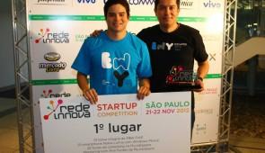 Luis Loaiza y Miguel Torres de EscapesWithYou muestran su primer lugar en la Red Innova Sao Paulo 2012.